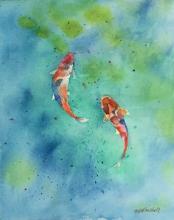 Koi — watercolor on Arches paper, 8x10 inches | by colorpoetry