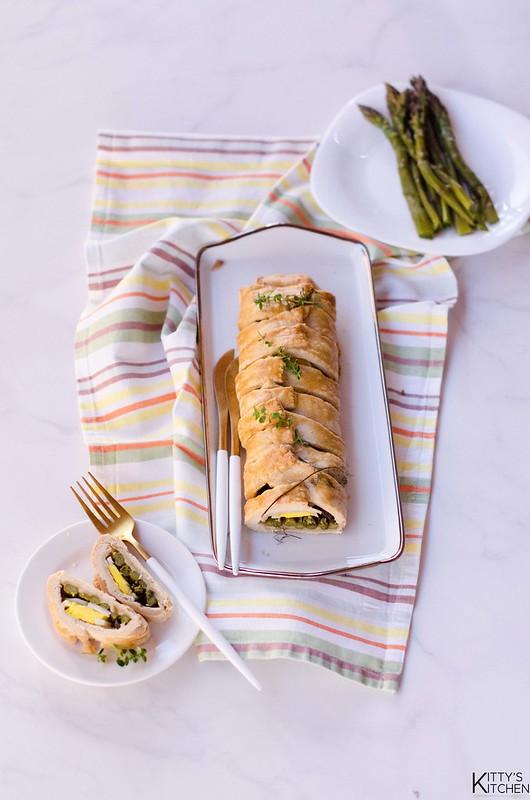 strudel salato uova e asparagi