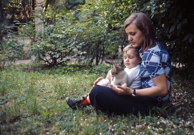 Many years ago (1975): a mother, a son and a cat