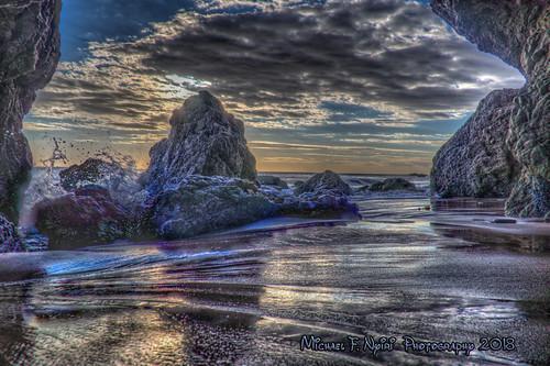 southerncalifornia malibuca elmatadorstatebeach rocks rockyshore clouds sunset sand