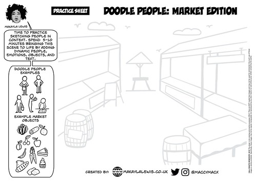 Practice sheet 'Doodle People: March Edition' for SketchnoteLDN | by maccymacx
