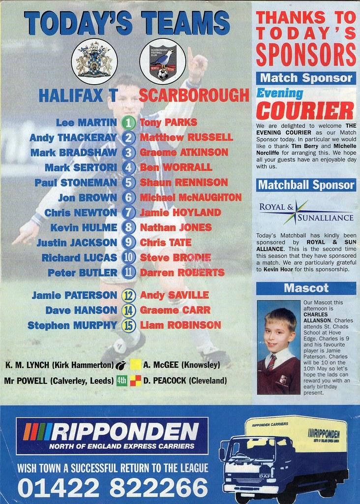 (Programme) 01-05-1999 Halifax Town 1-2 Scarborough 2