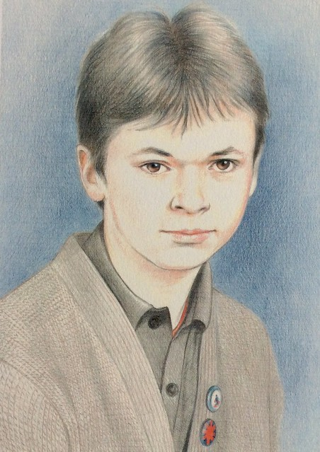 Coloured pencil portrait on white card by jmsw