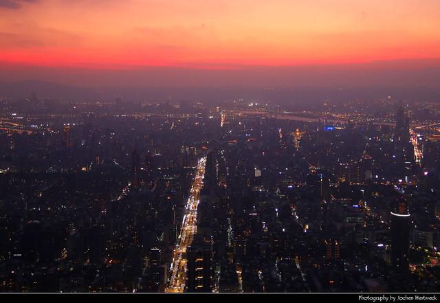 Looking west from Taipei 101 at Sunset, Taipei, Taiwan