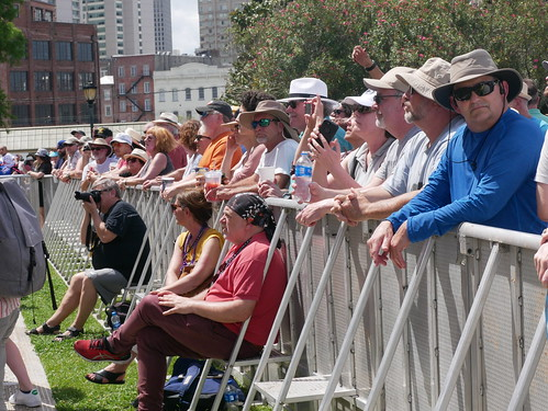 Audience watching Cha Wa on Day 1 of French Quarter Fest - 4.11.19. Photo by Louis Crispino.