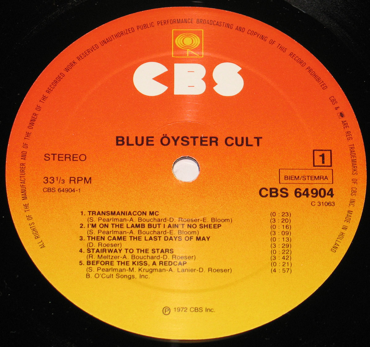 "Blue Öyster Cult - self-titleD 12"" vinyl LP"
