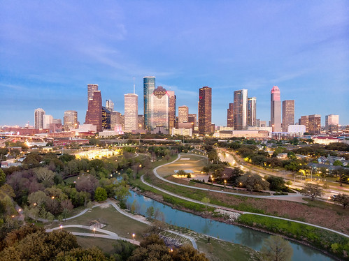 hdr skyline skyscrapers houston htx hou htown raulcano texas tx spring 2019 itcfire park eleanortinsley view drone mavicair mavic aerial photography bayou houstontx houstontexas houstonskyline bluehour sunset