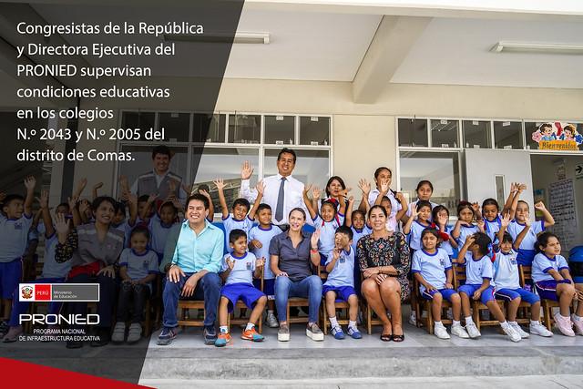 Legisladores y Directora Ejecutiva del PRONIED supervisan colegios de Comas