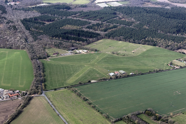 Aerial view of Felthorpe Airfield in Norfolk