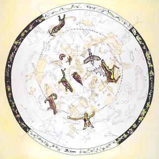 """Ojibwe Sky Star Map 36""""x36"""""""
