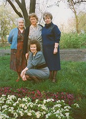 Татьяна Новосельская, Зоя Янушевич, Галина Новосельская, Татьяна Маслакова, апрель 1990, Житомир