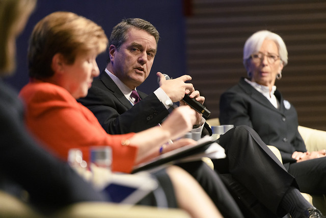 Wed, 04/10/2019 - 15:46 - April 10, 2019 - WASHINGTON DC - 2019 World Bank/ IMF Spring Meetings. Beyond Uncertainty: Leveraging Trade to Reduce Poverty. Leaders  address how increased protectionism and uncertainty impact the poor and what developing countries can do to ensure a future where trade benefits everyone. Kristalina Georgieva, Chief Executive Officer of the World Bank; Christine Lagarde, Managing Director, International Monetary Fund; Roberto Azevedo, Director-General, World Trade Organization; Stephanie Flanders Moderator - Senior Executive Editor for Economics at Bloomberg News and Head of Bloomberg Economics. Photo: World Bank / Grant Ellis