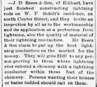 1897 - Beers installs lightning rods on Schilt house - Enquirer - 1 Oct 1897 | by historic.bremen