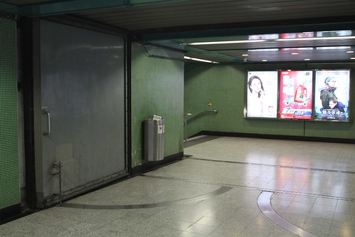 Flood doors inside Jordan station Exit D leading towards Nathan Road