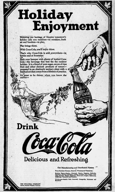 1923 advertisement for Coca-Cola - Holiday Enjoyment