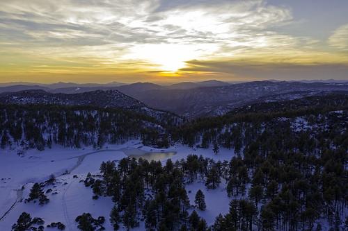 aerial drone mountlaguna snow sunset