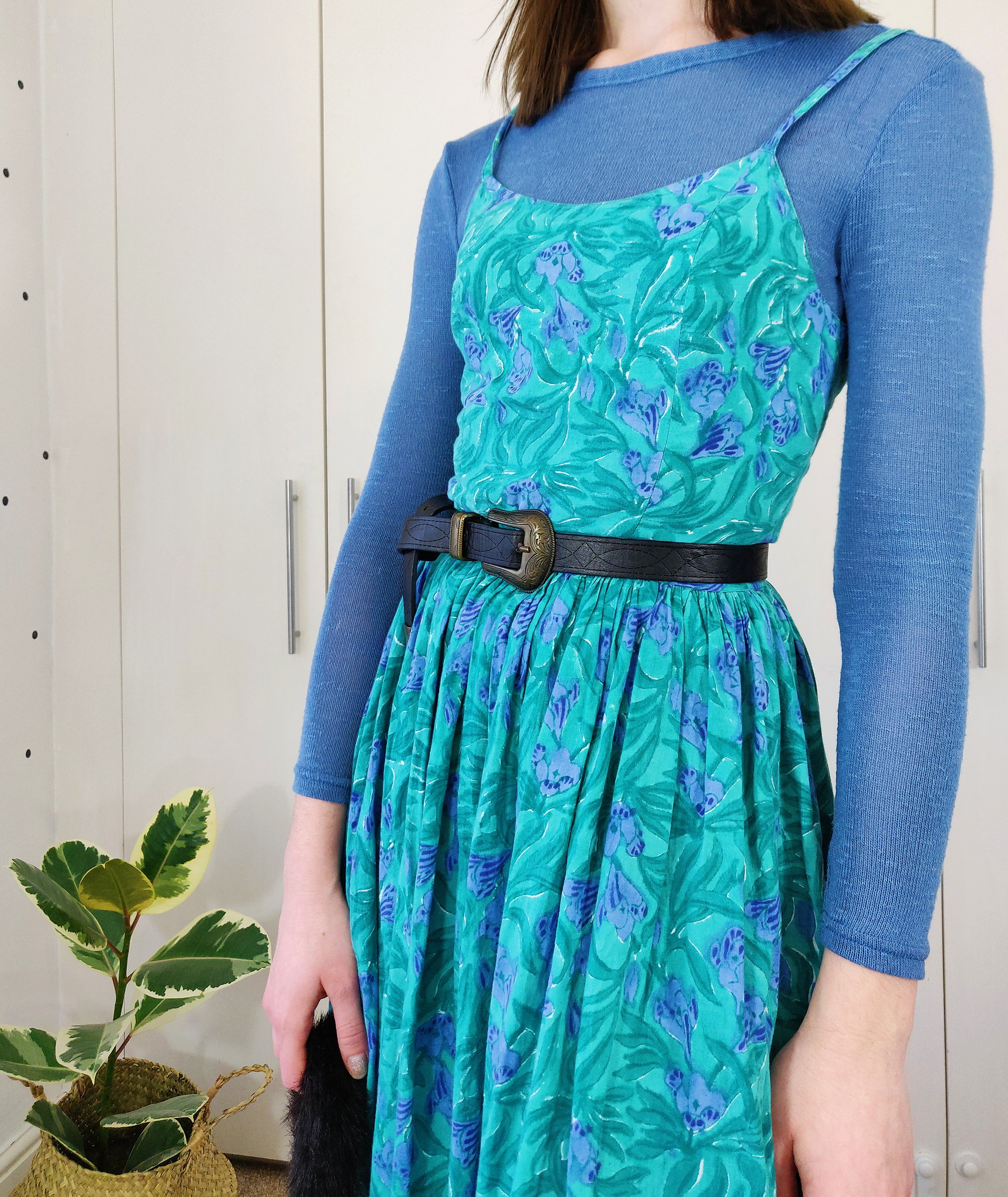 Layering a summer dress with a knit