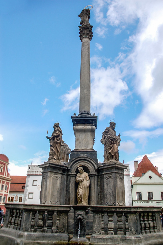 Fountain and Plague Pillar on the town square in Czech Krumlov