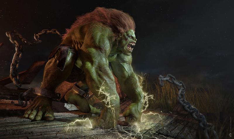 Обои abraao segundo, монстр, чудовище, зелёный, волосы, цепи, кандалы, разряд картинки на рабочий стол, фото скачать бесплатно