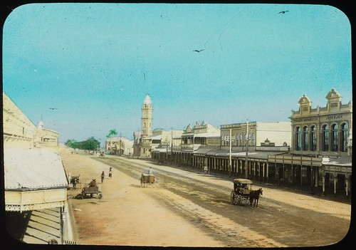 Looking towards the Post Office building in Bourbong Street, Bundaberg, Queensland, ca. 1910