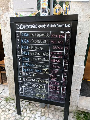 beer menu @ Duque Brewpub