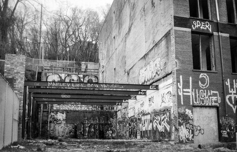 abandoned warehouse, exposed steel beams, graffiti, River District, Asheville, NC, Eastman Kodak No. 2 Bulls Eye Model D, Foma Retropan 320, HC-110 developer, 4.4.19