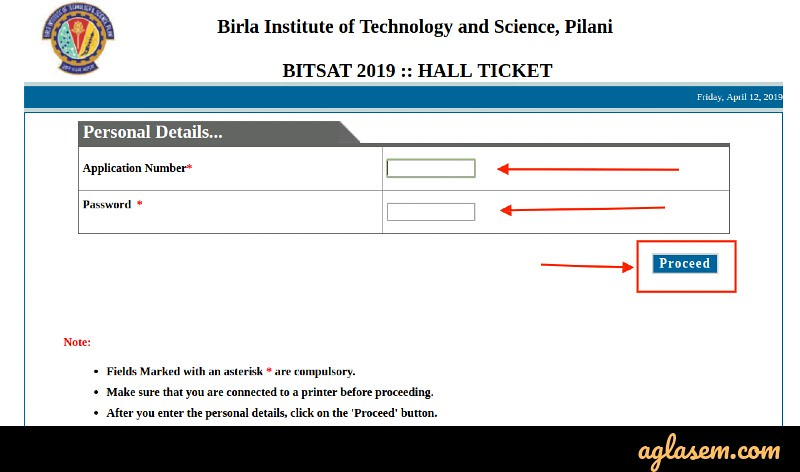 BITSAT 2019 Admit Card (Released) - Download Here BITSAT Hall Ticket 2019
