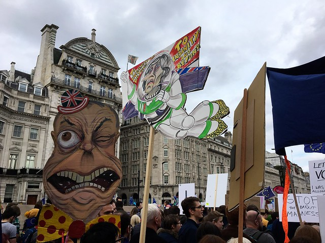 Clown Farage and Madwoman May - People's Vote March
