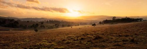 landscape panorama panoramic sunrise fog mist hills mountains valley view scenic rim boonah yellow orange light sky cloud olympus omd