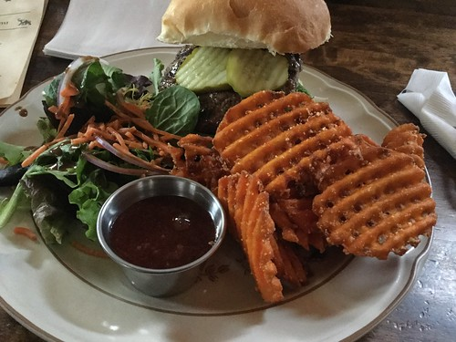 Salad and sweet potato waffle fries