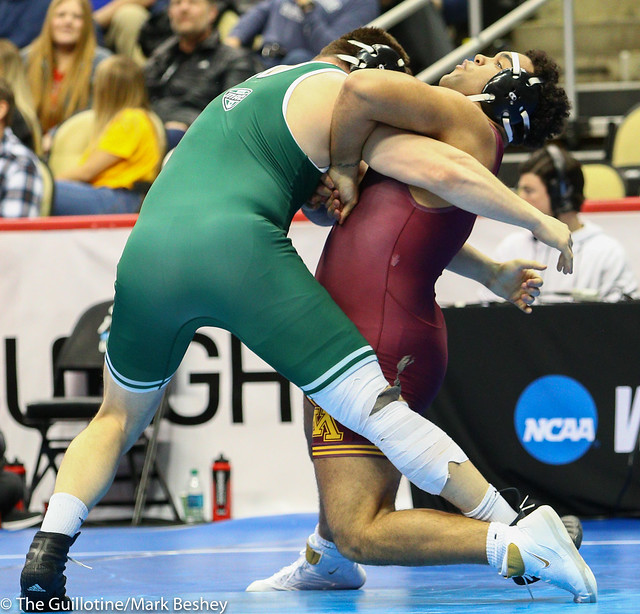 Champ. Round 1 - Gable Steveson (Minnesota) 31-1 won by tech fall over Zack Parker (Ohio) 15-13 (TF-1.5 3:22 (18-3)) - 190321amk0159