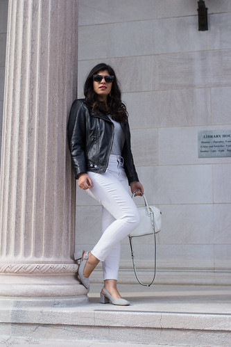 black leather jacket, white jeans, grey tee, suede slingback heels-2.jpg | by LyddieGal