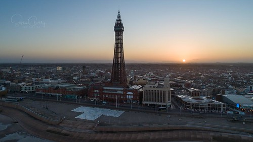 aerial blackpool dji sun sunrise tower