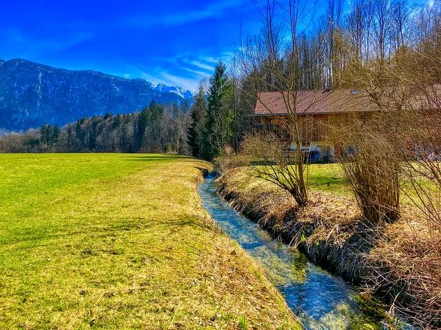 Brook, field and trees in spring near Kiefersfelden, Bavaria, Germany