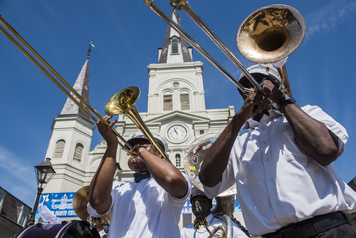 New Wave Brass Band during the opening parade to French Quarter Fest 2019 on April 11, 2019. Photo by Ryan Hodgson-Rigsbee RHRphoto.com