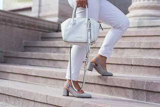 black leather jacket, white jeans, grey tee, suede slingback heels-3.jpg   by LyddieGal