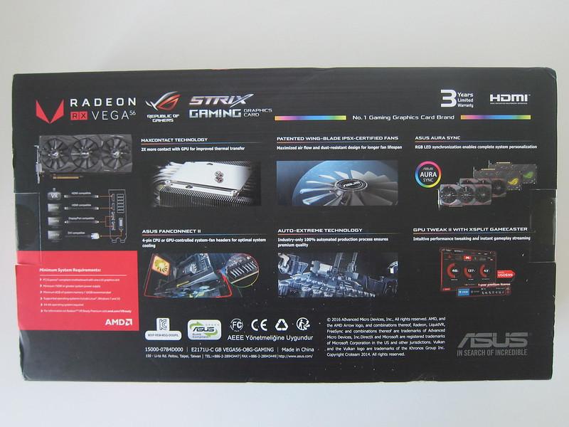 Asus ROG Strix RX VEGA56 OC Edition 8GB - Box Back