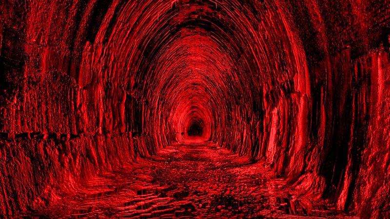 Обои тоннель, красный, черный, свет картинки на рабочий стол, фото скачать бесплатно