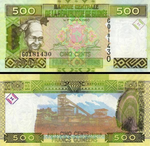 500 Guinejských frankov Guinea 2006, P39a