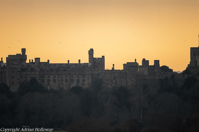 Arundel Castle at sunset.