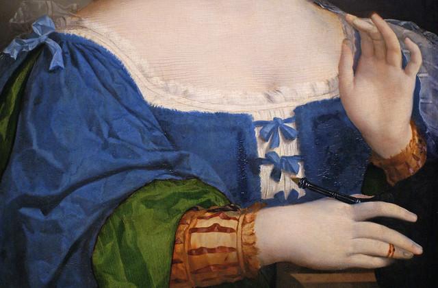 Jacopo Palma il Vecchio, Junge Frau in blauem Kleid mit Fächer, Detail