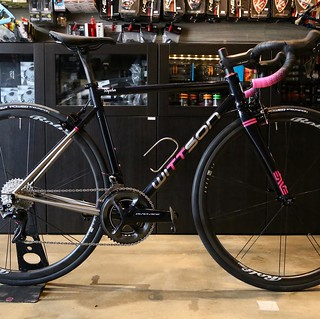 Rapha titanium road bicycle with Dura-Ace R9100 groupset and Rolf Prima Ares3 wheelset