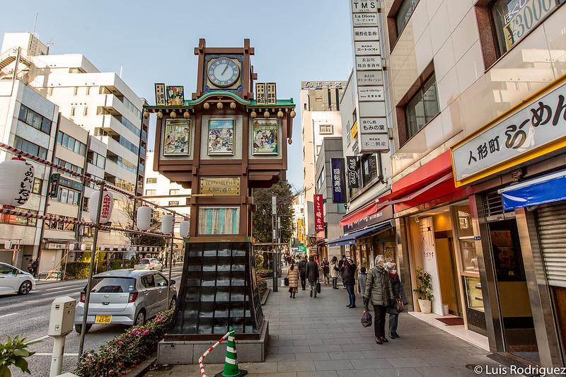 Uno de los relojes de Ningyocho (dedicado a los bomberos)