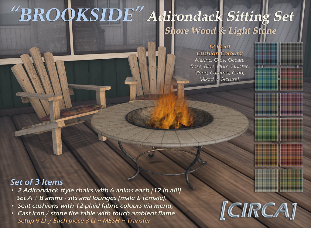 "For Syndicate Sunday | [CIRCA] – ""Brookside"" Adirondack Sitting Set – Shore Wood & Light Stone"