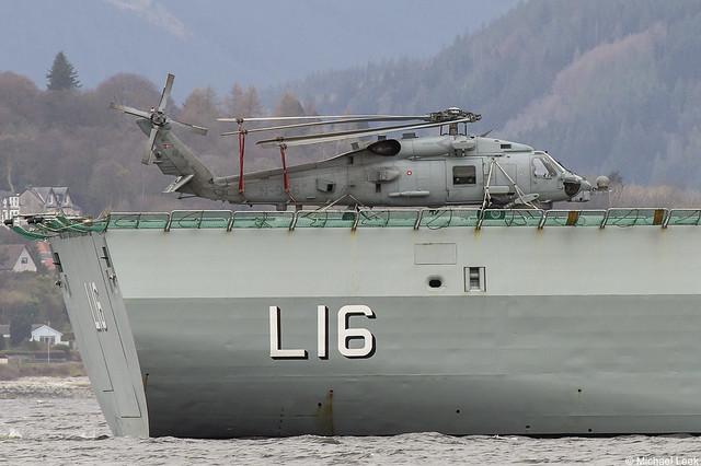 A Sikorsky SH-60R Seahawk on the flight deck of the Royal Danish Navy (Søværnet) ship Absalon, L16; Firth of Clyde, Scotland