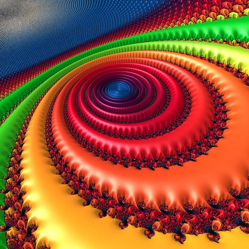 Обои фрактал, круги, узоры, разноцветный, спираль, вращение картинки на рабочий стол, фото скачать бесплатно