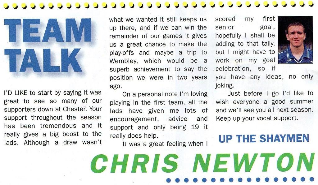 (Programme) 01-05-1999 Halifax Town 1-2 Scarborough 9 (Chris Newton)