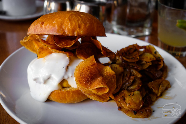 Bacon & Egg on Brioche - Chili Egg Patty, Chips, Pepper Jack Cheese Fondo, Hash Browns - Station