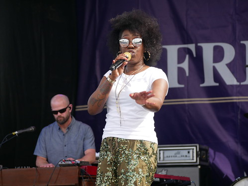 Erica Falls with Galactic on Day 1 of French Quarter Fest - 4.11.19. Photo by Louis Crispino.