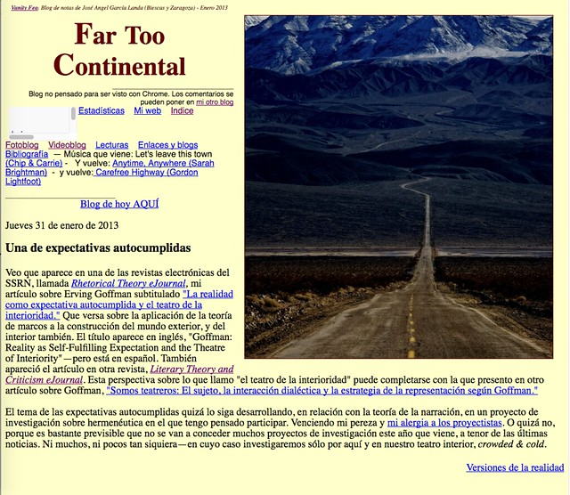 Far Too Continental: Blog de notas de enero de 2013